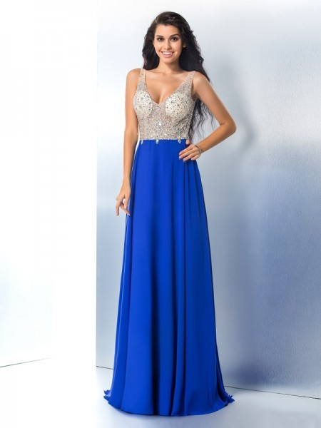 Stylish A-Line/Princess Beading Sleeveless Straps Long Chiffon Dresses