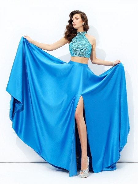Stylish A-line/Princess Beading Sleeveless High Neck Long Satin Two Piece Dresses