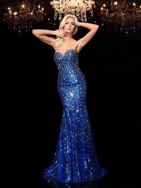 Fashion Trumpet/Mermaid Sequin Sleeveless Sweetheart Long Sequins Dresses