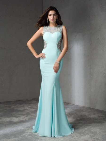 Stylish Trumpet/Mermaid Beading Sleeveless Jewel Long Chiffon Dresses