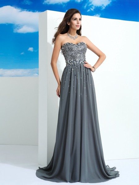 Stylish A-Line/Princess Beading Sleeveless Sweetheart Long Chiffon Dresses