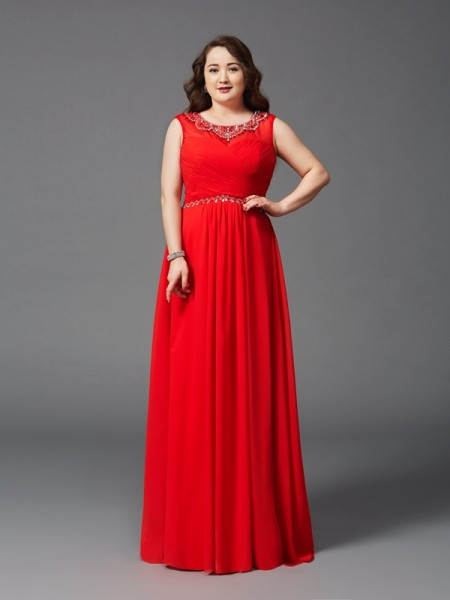 Stylish A-Line/Princess Beading Sleeveless Scoop Long Chiffon Plus Size Dresses