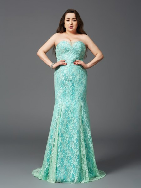 Stylish Sheath/Column Lace Sleeveless Strapless Long Satin Plus Size Dresses