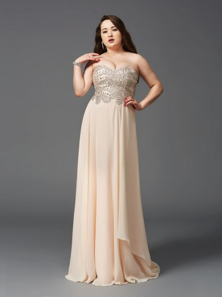 Stylish A-Line/Princess Rhinestone Sleeveless Sweetheart Long Chiffon Plus Size Dresses