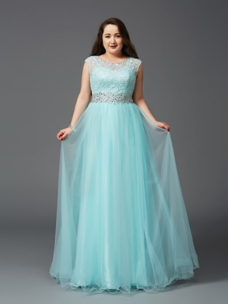 Fashion A-Line/Princess Rhinestone Sleeveless Scoop Long Elastic Woven Satin Plus Size Dresses