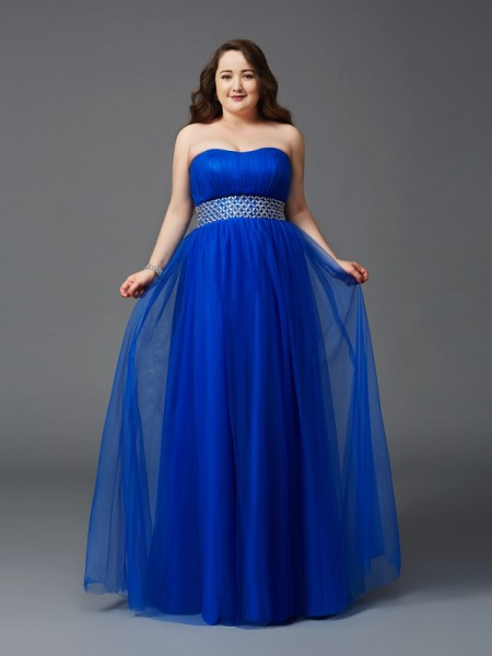 Fashion A-Line/Princess Rhinestone Sleeveless Strapless Long Net Plus Size Dresses
