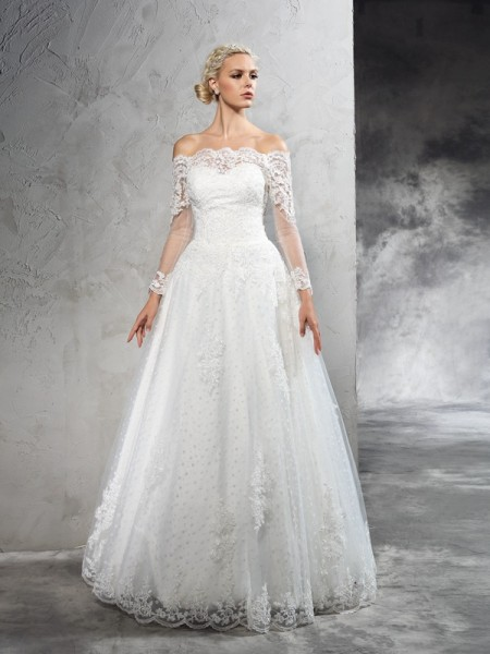 Fashion Ball Gown Lace Long Sleeves Off-the-Shoulder Long Net Wedding Dresses