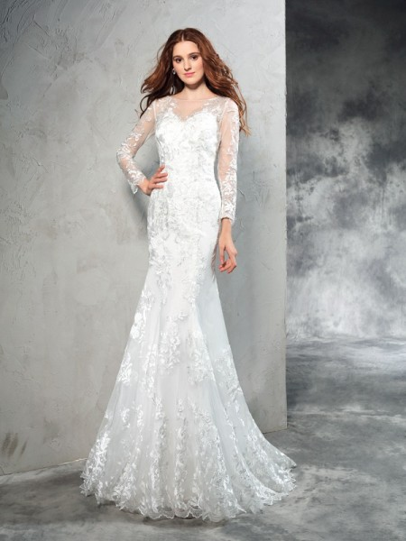Stylish Sheath/Column Lace Long Sleeves SheerNeck Long Net Wedding Dresses