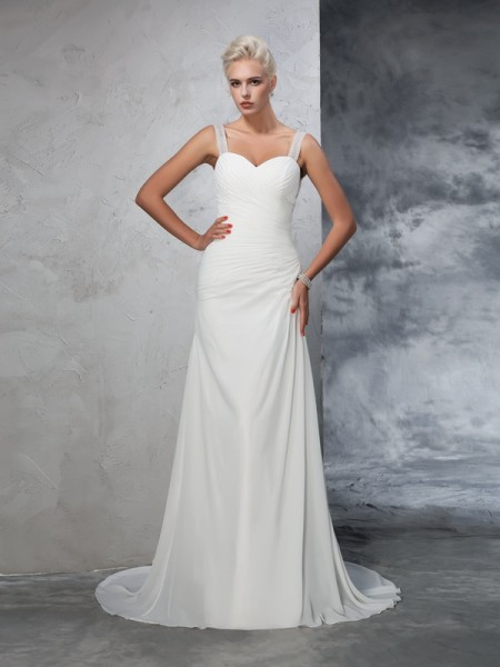 Stylish Trumpet/Mermaid Ruched Sleeveless Straps Long Chiffon Wedding Dresses