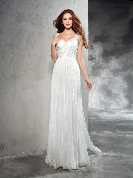 Fashion A-Line/Princess Lace Sleeveless Straps Long Lace Wedding Dresses