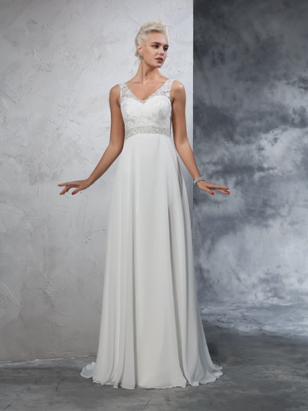 Fashion A-Line/Princess Beading Sleeveless V-neck Long Chiffon Wedding Dresses
