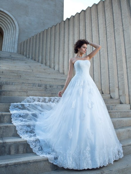 Fashion Ball Gown Straps Applique Spaghetti Sleeveless Long Satin Wedding Dresses
