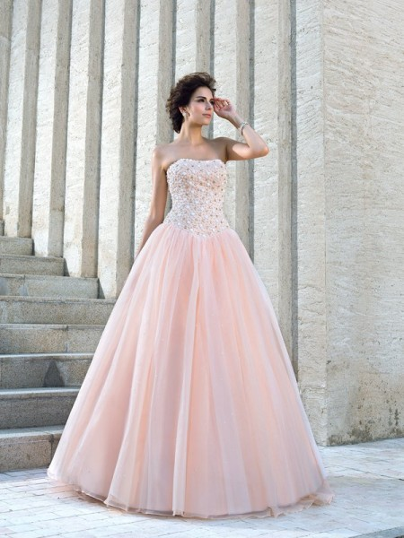 Stylish Ball Gown Beading Sleeveless Strapless Long Satin Wedding Dresses