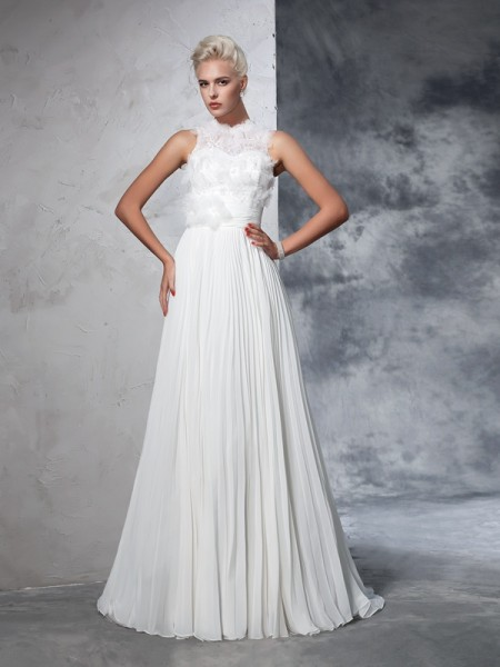 Stylish A-Line/Princess Pleats Sleeveless High Neck Long Chiffon Wedding Dresses