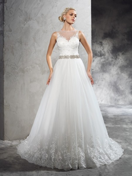 Fashion A-Line/Princess Beading Sleeveless SheerNeck Long Net Wedding Dresses