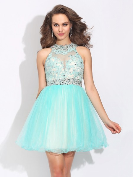 Stylish A-Line/Princess Lace Sleeveless High Neck Short Net Dresses