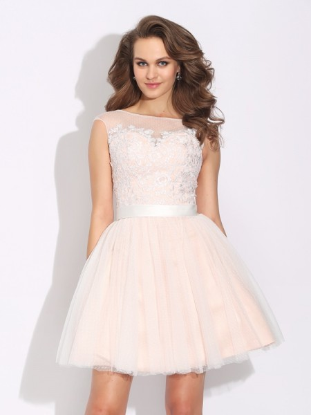Stylish A-Line/Princess Ruffles Short Sleeves Bateau Short Net Dresses