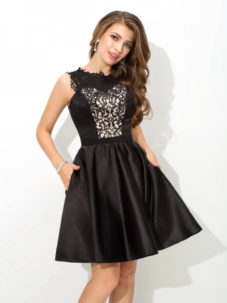 Fashion A-Line/Princess Lace Sleeveless Scoop Short Satin Cocktail Dresses