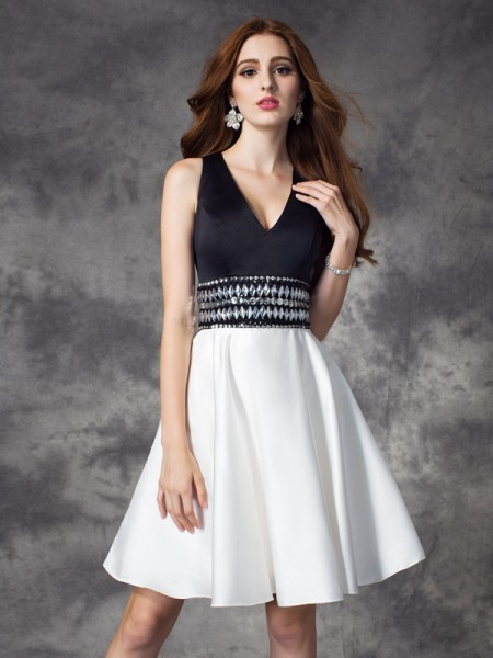 Stylish A-line/Princess Rhinestone Sleeveless V-neck Short Satin Dresses