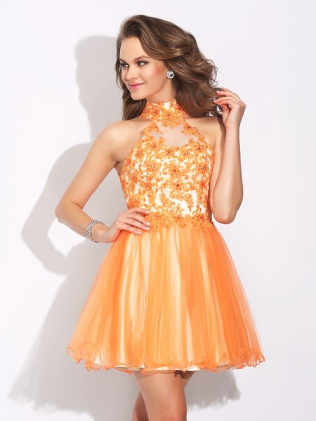 Fashion A-Line/Princess Ruffles Sleeveless High Neck Short Net Dresses