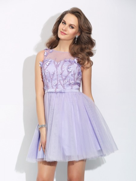 Fashion A-Line/Princess Applique Sleeveless Bateau Short Satin Dresses