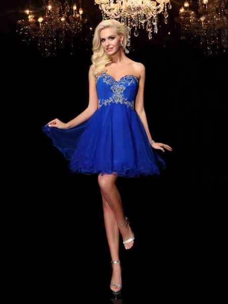 Stylish A-Line/Princess Beading Sleeveless Sweetheart Short Net Dresses