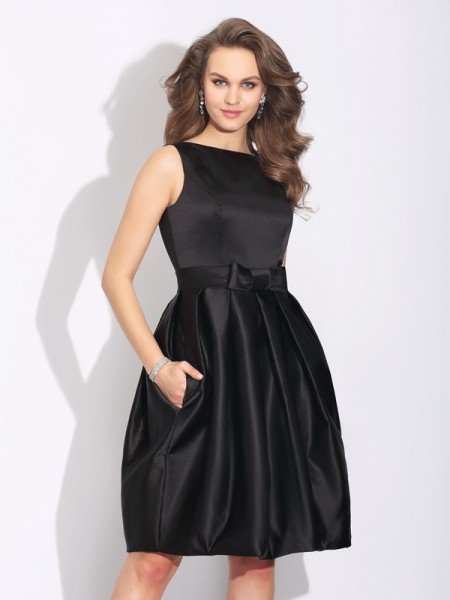 Stylish A-Line/Princess Bowknot Sleeveless Bateau Short Satin Dresses