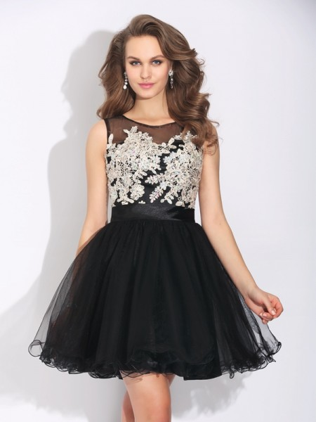 Stylish A-Line/Princess Ruffles Sleeveless Scoop Short Net Dresses