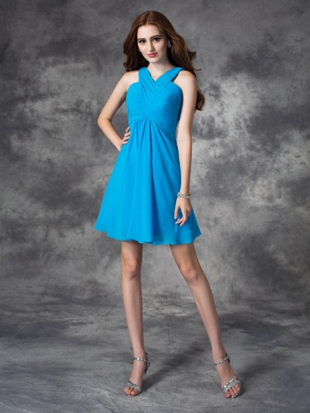 Stylish A-line/Princess Ruffles Sleeveless V-neck Short Silk like Satin Dresses