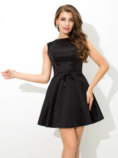 Stylish A-Line/Princess Sash/Ribbon/Belt Sleeveless High Neck Short Satin Cocktail Dresses