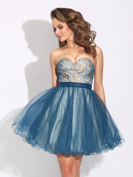 Fashion A-Line/Princess Ruffles Sleeveless Sweetheart Short Net Dresses