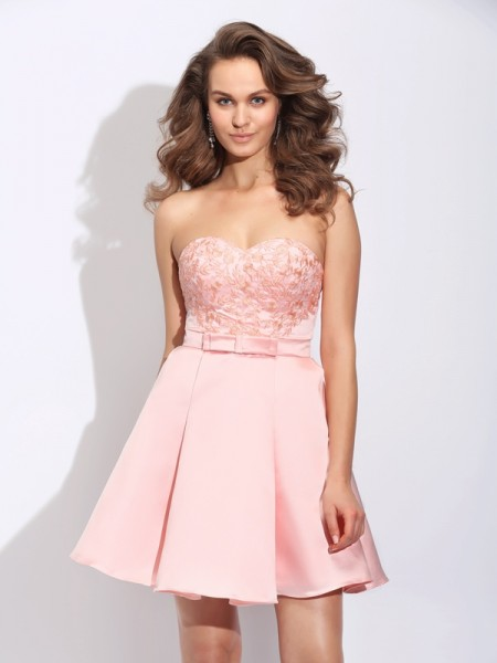 Stylish A-Line/Princess Ruffles Sleeveless Sweetheart Short Satin Dresses