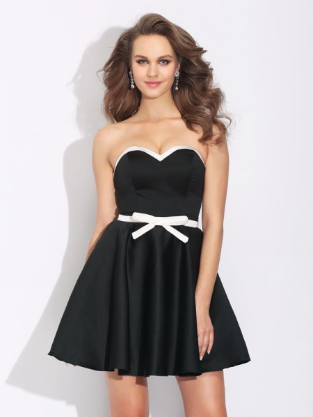 Fashion A-Line/Princess Bowknot Sleeveless Sweetheart Short Satin Dresses