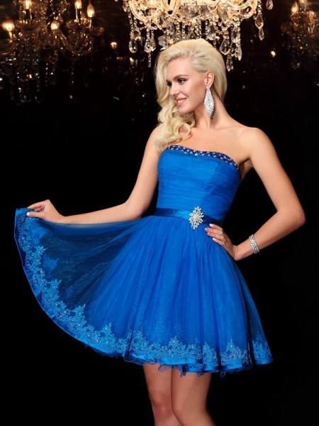 Fashion A-Line/Princess Beading Sleeveless Strapless Short Net Dresses