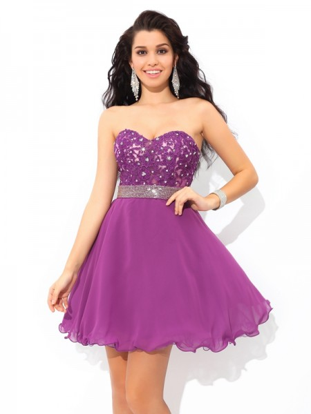 Fashion A-Line/Princess Beading Sleeveless Sweetheart Short Chiffon Cocktail Dresses