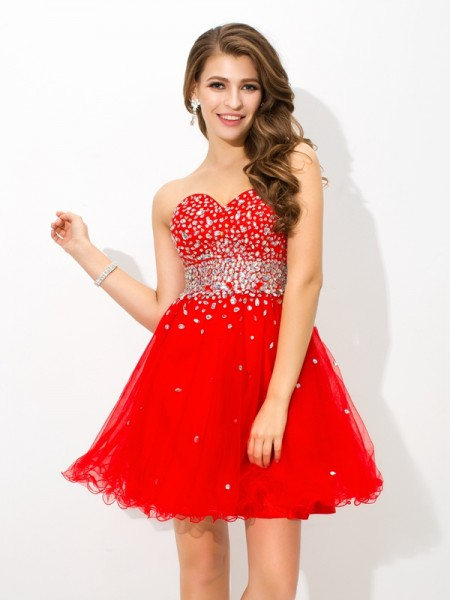 Fashion A-Line/Princess Beading Sleeveless Sweetheart Short Organza Cocktail Dresses