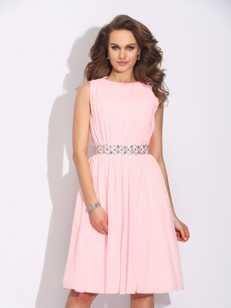 Stylish A-Line/Princess Ruffles Sleeveless Jewel Short Chiffon Dresses