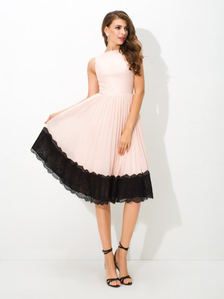 Fashion A-Line/Princess Lace Sleeveless High Neck Short Chiffon Cocktail Dresses