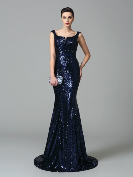 Stylish Trumpet/Mermaid Sleeveless Long Straps Sequins Dresses