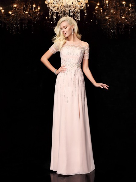 Fashion A-Line/Princess Beading Short Sleeves Bateau Long Chiffon Dresses