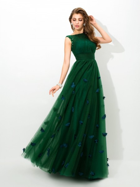 Stylish A-Line/Princess Beading Sleeveless SheerNeck Long Net Dresses