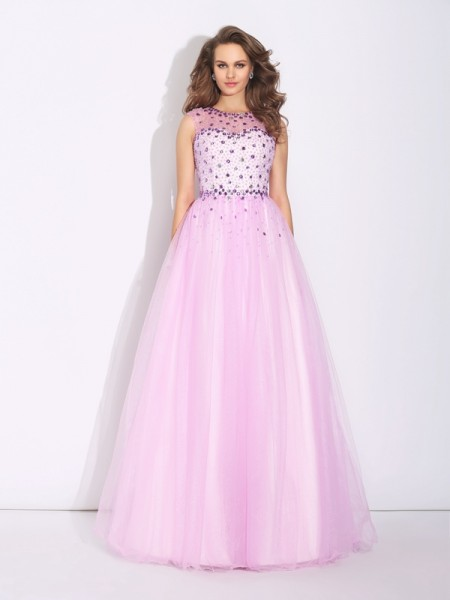 Stylish A-Line/Princess Rhinestone Sleeveless Jewel Long Net Dresses