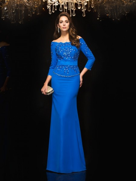 Fashion Sheath/Column Beading 3/4 Sleeves Off-the-Shoulder Long Chiffon Dresses