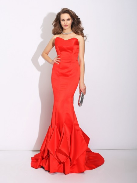 Stylish Trumpet/Mermaid Layers Sleeveless Sweetheart Long Satin Dresses