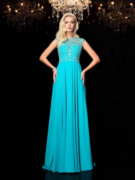 Fashion A-Line/Princess Lace Short Sleeves Jewel Long Chiffon Dresses
