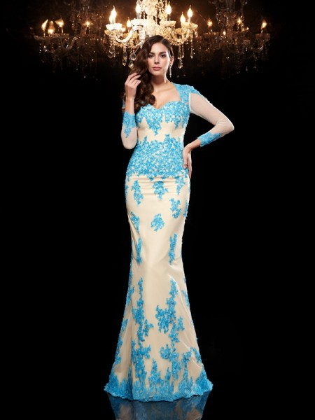 Fashion Trumpet/Mermaid Applique 3/4 Sleeves Sweetheart Long Net Dresses