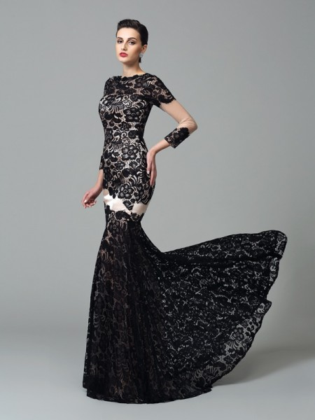 Stylish Sheath/Column Lace 3/4 Sleeves High Neck Long Elastic Woven Satin Dresses