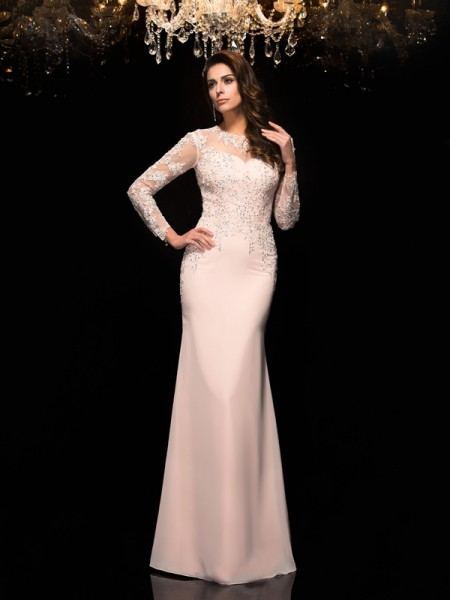 Fashion Sheath/Column Applique 3/4 Sleeves SheerNeck Long Chiffon Dresses