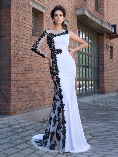 Stylish Trumpet/Mermaid Applique Long Sleeves Scoop Long Chiffon Dresses