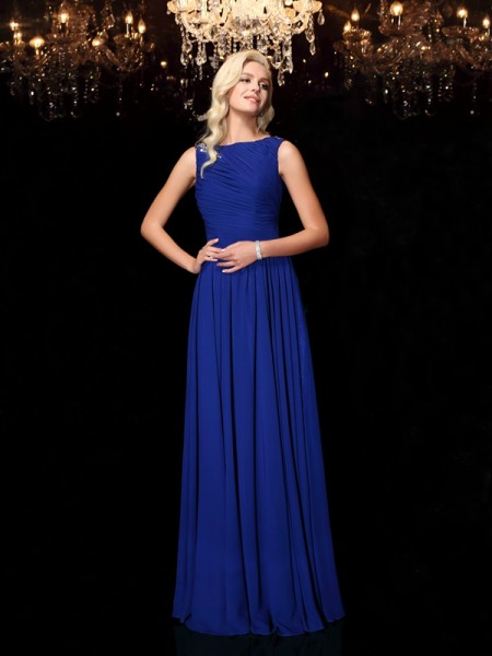 Stylish A-Line/Princess Rhinestone Sleeveless Bateau Long Chiffon Dresses